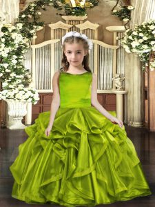 Super Olive Green Lace Up Scoop Ruffles Little Girls Pageant Dress Organza Sleeveless