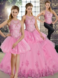 Simple Rose Pink Lace Up Scoop Lace and Embroidery and Ruffles Quinceanera Gown Tulle Sleeveless