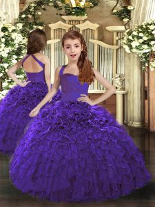Custom Made Sleeveless Ruffles Lace Up Little Girls Pageant Gowns