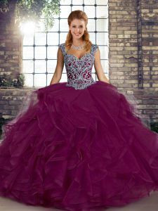 Custom Designed Ball Gowns Vestidos de Quinceanera Fuchsia Straps Tulle Sleeveless Floor Length Lace Up