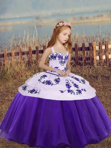 Straps Sleeveless Organza Little Girls Pageant Dress Wholesale Embroidery Lace Up
