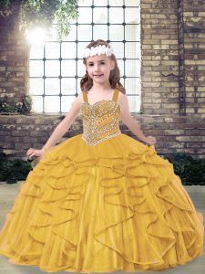 Custom Design Gold Lace Up Kids Pageant Dress Beading and Ruffles Sleeveless Floor Length