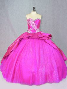 Lace Up Custom Made Hot Pink for Sweet 16 and Quinceanera with Beading and Embroidery Court Train