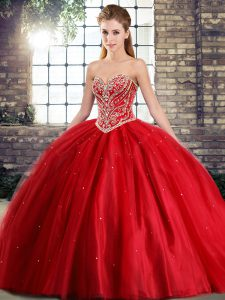 Ideal Sleeveless Brush Train Beading Lace Up Sweet 16 Dress