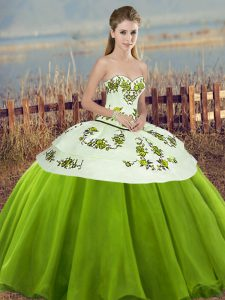 High End Tulle Sweetheart Sleeveless Lace Up Embroidery and Bowknot Quinceanera Dresses in Olive Green