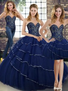 Excellent Three Pieces Sleeveless Navy Blue Sweet 16 Dress Brush Train Lace Up