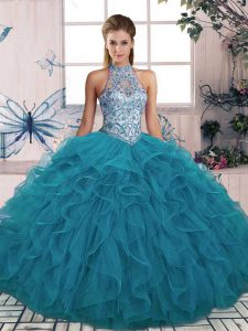 Most Popular Ball Gowns Quince Ball Gowns Teal Halter Top Tulle Sleeveless Floor Length Lace Up