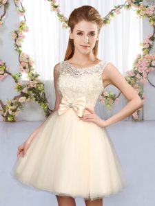 Beauteous Tulle Scoop Sleeveless Lace Up Lace and Bowknot Damas Dress in Champagne