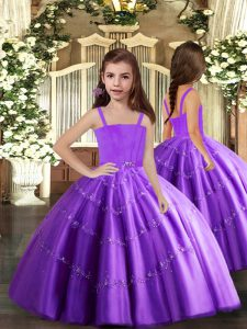 Latest Purple Lace Up Beading Pageant Dress Womens Sleeveless