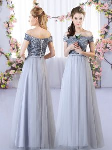 Grey Empire Tulle Off The Shoulder Sleeveless Appliques Floor Length Lace Up Court Dresses for Sweet 16