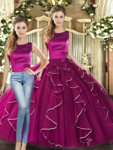 Fuchsia Tulle Lace Up Sweet 16 Dress Sleeveless Floor Length Ruffles