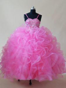 Rose Pink Ball Gowns Spaghetti Straps Sleeveless Tulle Floor Length Lace Up Beading and Ruffles Little Girls Pageant Gowns