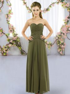 Floor Length Lace Up Vestidos de Damas Olive Green for Wedding Party with Ruching
