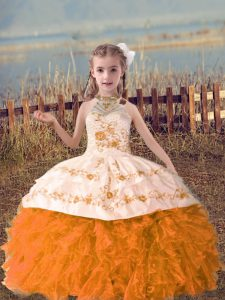 Orange Red Halter Top Neckline Beading and Embroidery and Ruffles Child Pageant Dress Sleeveless Lace Up