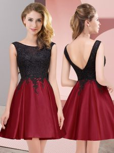 Vintage Wine Red Zipper Quinceanera Court of Honor Dress Lace Sleeveless Mini Length