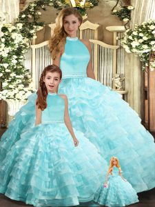 Fashion Floor Length Backless Vestidos de Quinceanera Aqua Blue for Sweet 16 and Quinceanera with Beading and Ruffled Layers