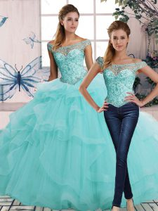 Adorable Floor Length Lace Up Quince Ball Gowns Aqua Blue for Military Ball and Sweet 16 and Quinceanera with Beading and Ruffles