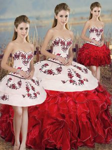 Fine White And Red Organza Lace Up Quinceanera Dresses Sleeveless Floor Length Embroidery and Ruffles and Bowknot