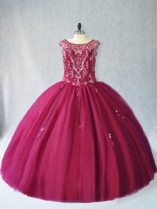 Enchanting Floor Length Ball Gowns Sleeveless Burgundy Quinceanera Gowns Lace Up