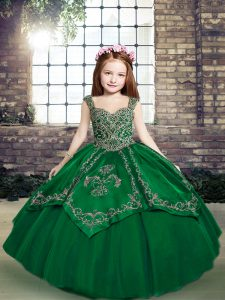 Gorgeous Ball Gowns Little Girls Pageant Dress Wholesale Dark Green Straps Tulle Sleeveless Floor Length Lace Up