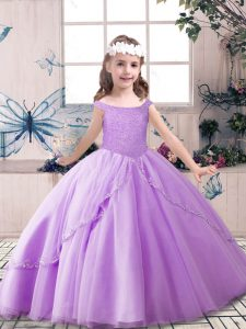 Lavender Ball Gowns Beading Pageant Gowns Lace Up Tulle Sleeveless Floor Length