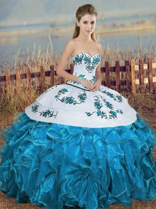 Eye-catching Sleeveless Floor Length Embroidery and Ruffles and Bowknot Lace Up Quinceanera Gown with Blue And White