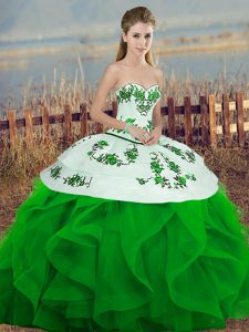 Tulle Sleeveless Floor Length Quinceanera Gown and Embroidery and Ruffles and Bowknot