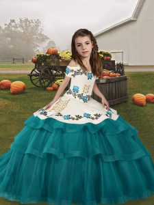 Teal Straps Lace Up Embroidery and Ruffled Layers Little Girls Pageant Dress Sleeveless