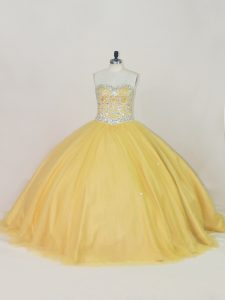Vintage Gold Lace Up Sweetheart Beading Sweet 16 Quinceanera Dress Tulle Sleeveless