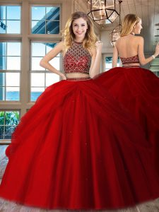 Fashion Red Sleeveless Floor Length Beading Backless Quinceanera Gown