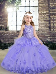Lavender Ball Gowns Tulle Scoop Sleeveless Beading and Appliques Floor Length Lace Up Girls Pageant Dresses