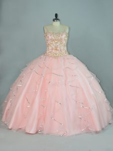 Peach Lace Up Straps Beading and Ruffles Sweet 16 Quinceanera Dress Tulle Sleeveless