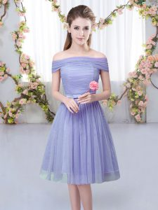 Romantic Tulle Short Sleeves Knee Length Quinceanera Court of Honor Dress and Belt