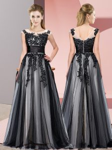 Flirting Scoop Sleeveless Zipper Quinceanera Court of Honor Dress Black Tulle
