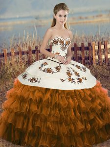 Brown Organza Lace Up Sweetheart Sleeveless Floor Length Quinceanera Gowns Embroidery and Ruffled Layers and Bowknot