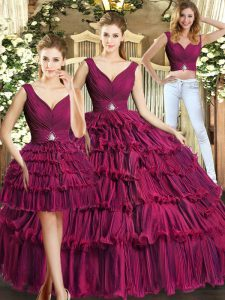 Vintage V-neck Sleeveless Quinceanera Gown Floor Length Ruffled Layers Burgundy Organza