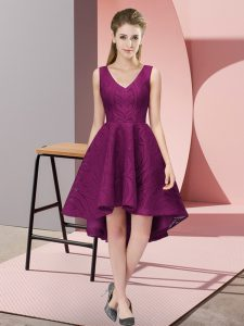 Romantic High Low Zipper Court Dresses for Sweet 16 Dark Purple for Wedding Party with Lace