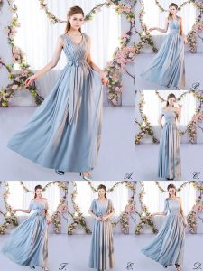 Popular Sleeveless Chiffon Floor Length Lace Up Dama Dress in Grey with Belt