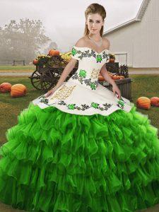 Green Sleeveless Floor Length Embroidery and Ruffled Layers Lace Up Quinceanera Dress