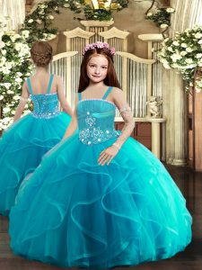Custom Fit Straps Sleeveless Little Girls Pageant Dress Wholesale Floor Length Beading and Ruffles Baby Blue Tulle