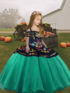 Attractive Sleeveless Lace Up Floor Length Embroidery Little Girls Pageant Dress Wholesale
