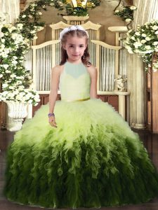 Pretty Multi-color High-neck Backless Ruffles Little Girl Pageant Dress Sleeveless