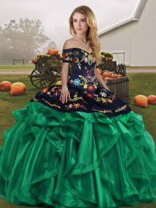 Sweet Sleeveless Floor Length Embroidery and Ruffles Lace Up Quinceanera Gowns with Green
