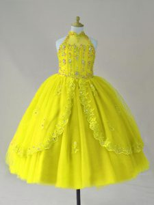 Dramatic Sleeveless Beading and Appliques Lace Up Kids Pageant Dress