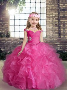 Hot Pink Organza Lace Up Straps Sleeveless Floor Length Little Girls Pageant Dress Beading and Ruffles