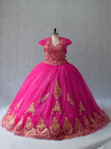 Hot Pink Tulle Lace Up 15 Quinceanera Dress Sleeveless Court Train Appliques