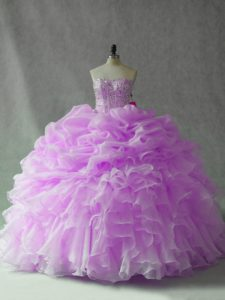Gorgeous Lilac Sleeveless Brush Train Beading and Ruffles and Pick Ups Quinceanera Dress