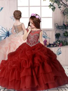 Red Ball Gowns Chiffon Off The Shoulder Sleeveless Beading and Pick Ups Floor Length Lace Up Kids Formal Wear
