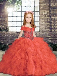 Floor Length Lace Up Kids Formal Wear Red for Party and Wedding Party with Beading