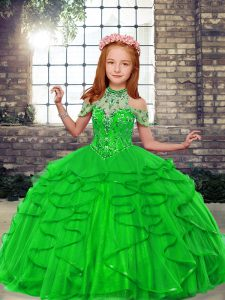 Tulle Lace Up Little Girls Pageant Dress Sleeveless Floor Length Beading and Ruffles